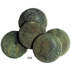 Lot of 5 French copper sols dated 1791.