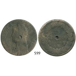 Strassbourg, France, bronze décime, LAN 8 (1799-1800), with Royalist(?) countermark in center, possi