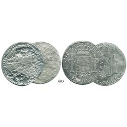 Lot of 2 Potosí, Bolivia, bust 8 reales, Charles III and IV, dates and assayers not visible.
