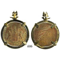 English East India Co., copper X cash, 1808, mounted in 14K gold bezel for necklace with galleon for