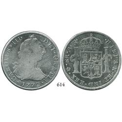 Mexico City, Mexico, bust 8 reales, Charles III, 1772MF (initials facing rim), rare.