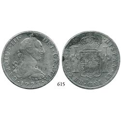 Mexico City, Mexico, bust 8 reales, Charles III, 1773FM (initials facing rim).