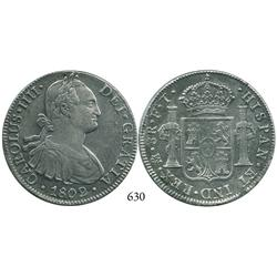 Mexico City, Mexico, bust 8 reales, Charles IV, 1802FT.
