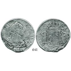 Mexico City, Mexico, bust 4 reales, Charles III, 178(?)FF, extremely rare denomination from this wre