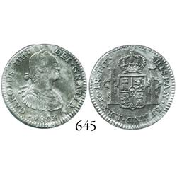 Mexico City, Mexico, bust 1 real, Charles IV, 1803FT.