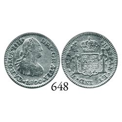Mexico City, Mexico, bust 1/2 real, Charles IV, 1800FM.