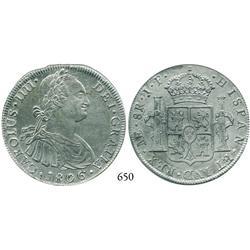 Lima, Peru, bust 8 reales, Charles IV, 1806JP.