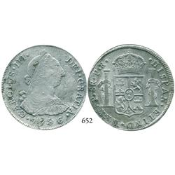 Potosí, Bolivia, bust 8 reales, Charles III, 1786PR.