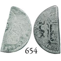 "Potosí, Bolivia, bust ""1/2 real"" (half-cut of a 1R), Charles IV, 1808PJ."