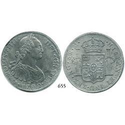Guatemala City, Guatemala, bust 8 reales, Charles IV, 1792M.