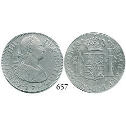 Guatemala City, Guatemala, bust 2 reales, Charles IV, 1795M.