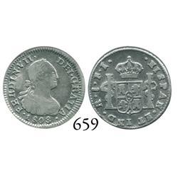 Santiago, Chile, bust 1/2 real, Ferdinand VII (bust of Charles IV), 1808FJ.