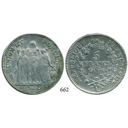 France (Republic), Bayonne mint (mintmark L), 5 francs, l'an 10 (1801-2).
