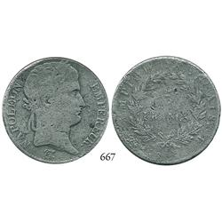France, 5 francs, 18??-B (Rouen) EMPIRE FRANÇAIS (1809-14).