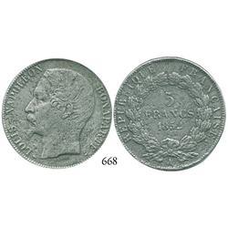 France, 5 francs, 1852-A (Paris).