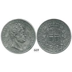 Sardinia, Italy, 5 lire, 1835-P, anchor mintmark.