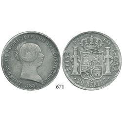 Seville, Spain, 20 reales, Isabel II, 1851.