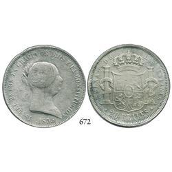 Seville, Spain, 20 reales, Isabel II, 1855.