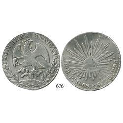 San Luis Potosí, Mexico, cap-and-rays 8 reales, 1868PS.