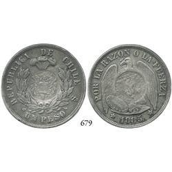 Guatemala, half real counterstamp of 1894 on Santiago, Chile, peso, 1885.