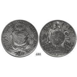 Guatemala, half real counterstamp of 1894 on Lima, Peru, sol, 1891TF.