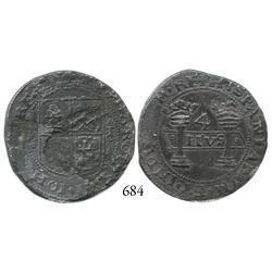 "Mexico City, Mexico, 4 reales, Charles-Joanna, ""Early Series,"" oMo to left, oPo to right."