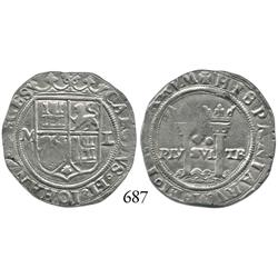 """Mexico City, Mexico, 2 reales, Charles-Joanna, """"Late Series,"""" M to left, L to right."""