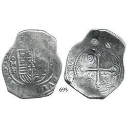 Mexico City, Mexico, cob 8 reales, 1654P, with Indonesian countermarks on cross side.