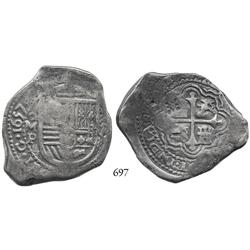 Mexico City, Mexico, cob 8 reales, 1657P, with Indonesian countermarks.