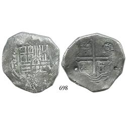 Mexico City, Mexico, cob 8 reales, Philip IV, oMP, with large chopmark.
