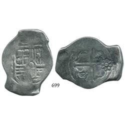 Mexico City, Mexico, cob 8 reales, Philip IV, oMP, with Indonesian countermark.