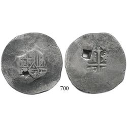 Mexico City, Mexico, cob 8 reales, Philip IV?, cut down and flattened back out to 8R diameter in its