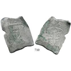 Mexico City, Mexico, cob 8 reales, Philip V, ca. 1733 as reverse is struck from klippe die, possibly