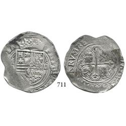 Mexico City, Mexico, cob 4 reales, Philip II, oMO to left.