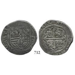 Mexico City, Mexico, cob 4 reales, Philip II, oMO to right.