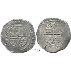 Mexico City, Mexico, cob 4 reales, Philip III, oMF, king's name with two L's.