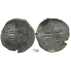 Mexico City, Mexico, cob 4 reales, 1652/1P, rare.