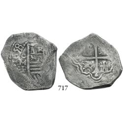 Mexico City, Mexico, cob 4 reales, 1658P, bold full date, rare.