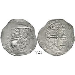 Mexico City, Mexico, cob 2 reales, Philip II, oMO to left.