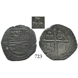 Mexico City, Mexico, cob 2 reales, Philip III, oMF, variety with 3 small castles in triangle pattern