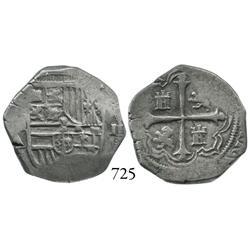 Mexico City, Mexico, cob 2 reales, Philip III, (o)MA, scarce.