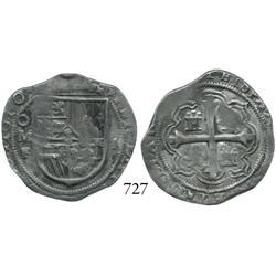 Mexico City, Mexico, cob 2 reales, 1610F, rare.