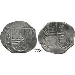 Mexico City, Mexico, cob 2 reales, 1612F, rare.