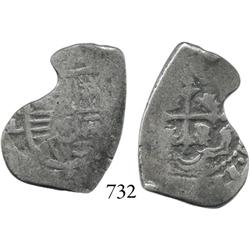 Mexico City, Mexico, cob 2 reales, Charles II, (o)ML.