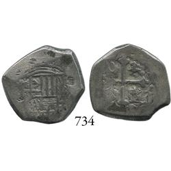 Mexico City, Mexico, cob 2 reales, Philip V, assayer not visible, with small chopmarks.