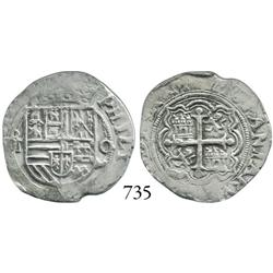 Mexico City, Mexico, cob 1 real, Philip II, oM to left, O to right