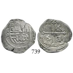 Mexico City, Mexico, cob 1 real, Philip II, (o)MF/O to left, scarce over-assayer.