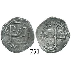 Mexico City, Mexico, cob 1/2 real, Philip II, oM to left, F to right.