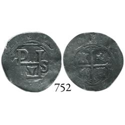 Mexico City, Mexico, cob 1/2 real, Philip II, oM(F) to left, interesting variety of monogram, possib