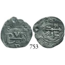 Mexico City, Mexico, cob 1/2 real, Philip III, F at top left, oM at top right, and oD below monogram